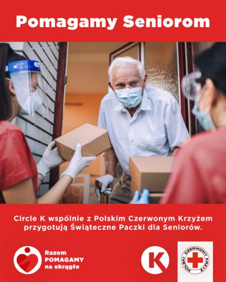 Circle K wraz z PCK kontynuują akcję wspierania seniorów Problemy społeczne, BIZNES - Circle K wspólnie z Polskim Czerwonym Krzyżem wspiera seniorów w całej Polsce przekazując świąteczne paczki. Na wsparcie akcji, Circle K przekaże aż 20% całkowitego zysku ze sprzedaży w sklepie na stacjach własnych, w okresie od 1 do 21 grudnia b.r.